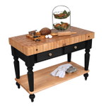 John Boos American Heritage Rustica Maple Butcher Block on Black Base with Shelf