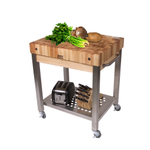 John Boos Cucina Technica End Grain Maple Butcher Block on Stainless Steel Rolling Cart, 30 x 24 Inch