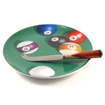 Pool Parlor Billiards Cheese Plate With Cheese Spreader/Knife
