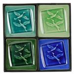 Porcelain Crackled Glass Design 4pc plate set