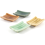 Crackeled Glass Bamboo Japanese 4piece Sauce Sushi Plate