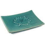 Large Green Leaf Asian Crackeled Glass Serving Plate
