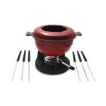 Swissmar Lucerne Red Cast Iron 10-Piece Meat Fondue Set