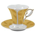Gold Feather Design Porcelain Espresso Set 12 Pieces