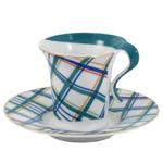 Retro Art Deco Plaid Porcelain Espresso Demitasse Set 12 Pieces