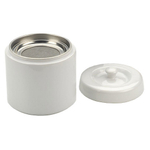 White Stoneware Grease Keeper with Strainer