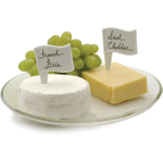 RSVP 6 Piece White Cheese Flag Set with Erasable Pen