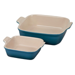 Le Creuset Heritage Deep Teal Stoneware Square Baker, Set of 2