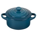 Le Creuset Deep Teal Enameled Stoneware 8 Ounce Mini Round Cocotte