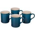 Le Creuset Deep Teal Stoneware Mug, Set of 4