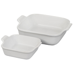 Le Creuset Heritage White Stoneware Square Baker, Set of 2