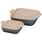 Le Creuset Heritage Oyster Stoneware Square Baker, Set of 2