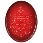 Le Creuset Noel Collection Cerise Stoneware Oval Santa Cookie Platter