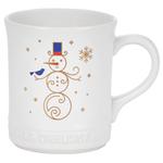 Noel Collection: Snowman Mug - White w/ Applique Stoneware