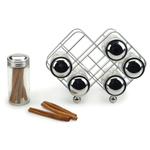 Flat Wire Spice Rack with Six Spice Bottles
