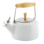 Chantal Glossy White Enamel-on-Steel Sven 1.8 Quart Teakettle
