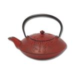Joyce Chen Red Cast Iron Ono No Komachi Poem Tetsubin Teapot, 28 Ounce