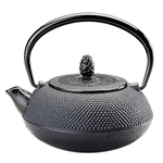 Joyce Chen Black Cast Iron Hob Nail Oval Tetsubin Teapot, 11 Ounce