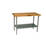John Boos Thick Maple Top Work Table on Galvanized Base with Shelf, 48 x 24 Inch