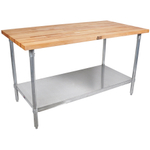 John Boos Thick Maple Top Work Table on Galvanized Base with Shelf, 60 x 30 Inch