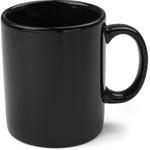 OmniWare Teaz Cafe Black Stoneware 11 Ounce Classic Coffee Mug, Set of 4