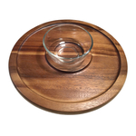 Kalmar Home Acacia Chip n Dip Serving Tray with Glass Bowl