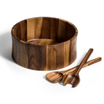 Kalmar Home 12-Inch Acacia Wood Curved Extra Large Salad Bowl with Servers