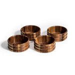 Kalmar Home Acacia Wood Four Individual 6-Inch Ribbed Salad Bowls