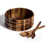 Kalmar Home 12-Inch Acacia Wood Extra Large Salad Bowl with Servers