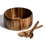 Kalmar Home 12-Inch Acacia Wood Extra Large Smooth Salad Bowl with Servers