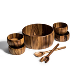Kalmar Home 12-Inch Acacia Wood Smooth Extra Large Salad Bowl with 4 Bowls