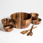 Kalmar Home 13-Inch Acacia Wood Extra Large Salad Bowl with 4 Bowls