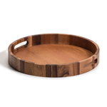 Kalmar Home Acacia Wood 15-Inch Round Serving Tray