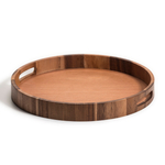 Kalmar Home Acacia Wood 17-Inch Round Serving Tray