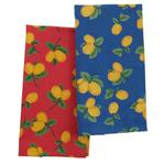 Blue and Red Lemon Kitchen Dish Towel - Set of 4