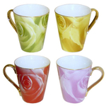 Multi Color Rose Porcelain 4 Piece Coffee or Tea Mug Set