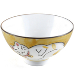 Yellow Porcelain Sleeping Kitty Cat Asian Rice Bowl