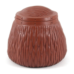 Yixing Red Clay Basket Weave Sugar Canister