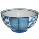 HIC Harold Import Co. Blue Weave Ceramic Miso Soup and Rice Bowl