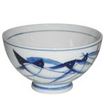 HIC Harold Import Co. Blue Carp Ceramic Miso Soup and Rice Bowl