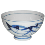 HIC Harold Import Co. Blue Fish Ceramic Miso Soup and Rice Bowl