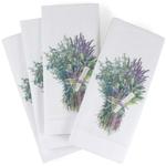 White Cotton Napkin with Herbs de Provence Design, Set of 6