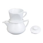 HIC Harold Import Co White Ceramic 2 Cup Direct Immersion Drip Coffee Maker