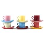 Assorted Ceramic Espresso Demitasse 12 Piece Coffee Cup and Saucer Set