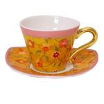 Porcelain Orange Flower 12pc Espresso Cup & Saucer Set