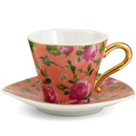Porcelain Pink Rose & Orange Espresso Cup & Saucer 6 Piece Set