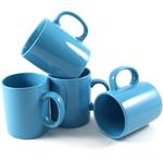 Omniware 11 Ounce Classic Turquoise Ceramic Coffee Mug, Set of 4