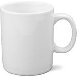 OmniWare Teaz Cafe White Stoneware 11 Ounce Classic Coffee Mug, Set of 4