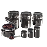 Oggi 7 Piece Round Black Ceramic Canister Set with Stainless Steel Spoons