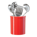 Oggi Red Ceramic 7 Inch Utensil Holder